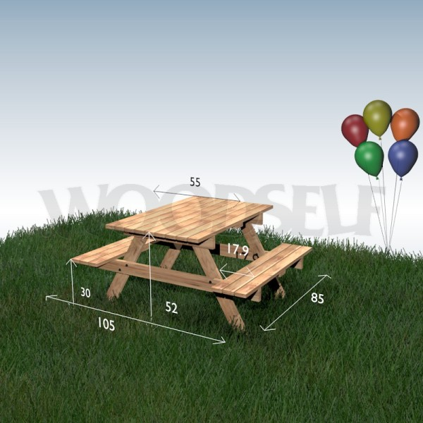 picnic table for children woodself free plans for woodworking. Black Bedroom Furniture Sets. Home Design Ideas