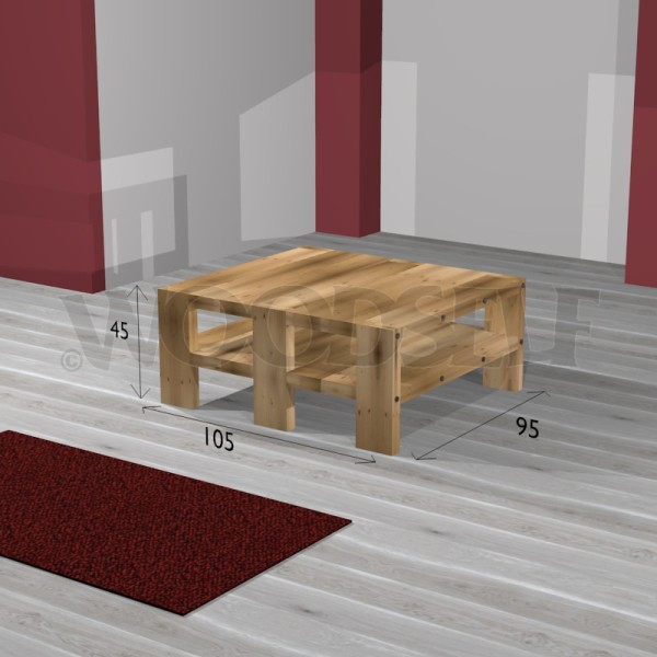 Table basse woodself le site des plans de meubles gratuits for Plan table en bois