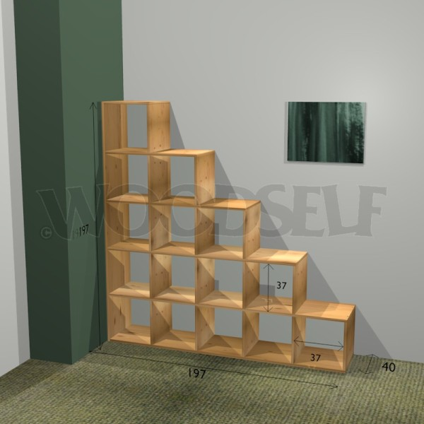 biblioth que en escalier woodself le site des plans de meubles gratuits. Black Bedroom Furniture Sets. Home Design Ideas