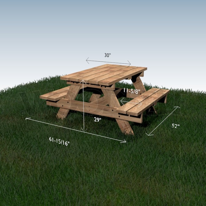 Plan table bois picnic table de lit a roulettes for Plan table en bois