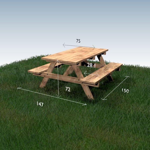 Table pique nique woodself le site des plans de for Plan table en bois